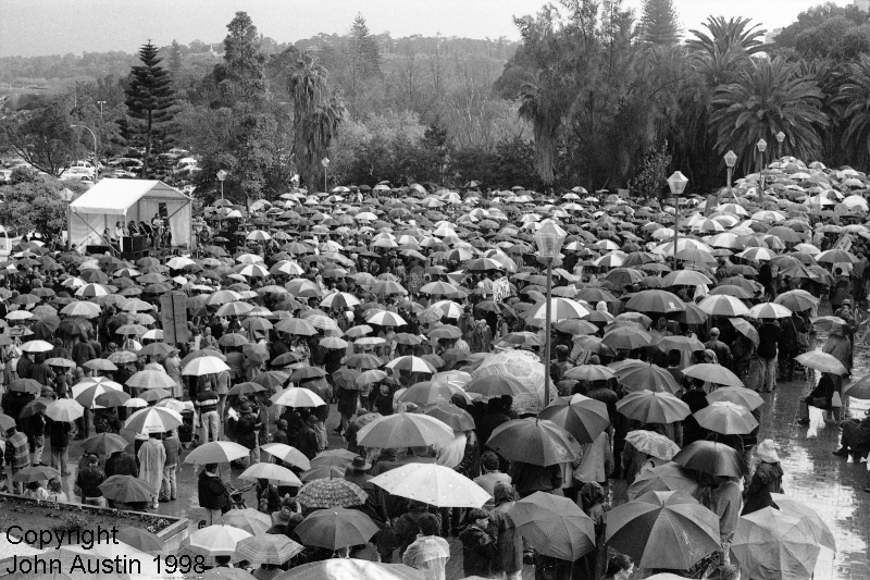 Forest Protest Umbrellas Rally Perth 1998 - © John Austin