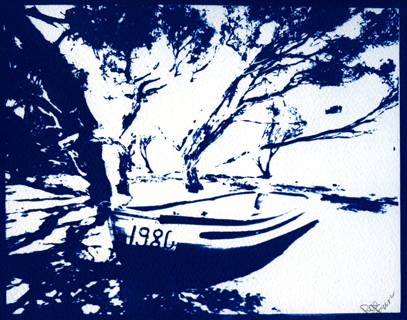 Sarah's Boat, Broke Inlet WA, 2017. 10x8 cyanotype from lith neg' on Saunders watercolour paper - © John Austin